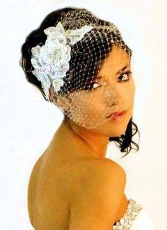 Valentina: Light Ivory Crystal Beaded Lace Bridal Applique and Birdcage Veil 27iv-156