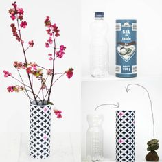 DIY flower vase {upcycling tuesday} by http://titatoni.blogspot.de/, such a great idea to use an old bottle and box to make a vase, wow! there is also a free pattern in the post