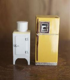 Vintage Salt and Pepper Shakers Refrigerators by ForestDaydream