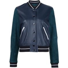 Rag & Bone 'Alix' bomber jacket (18.810.730 IDR) ❤ liked on Polyvore featuring outerwear, jackets, blue, leather jackets, rag bone jacket, genuine leather jackets, flight jacket and bomber jackets
