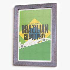 13''x19'' Giclee print (archival inkjet) Heavy-weight archival matte paper Shipped in crush proof cardboard tube Print only, does not include frame ///// A minimalist inspired graphic poster, celebrating Formula 1 and the Brazilian Grand Prix. Perenial favorite, the Brazilian Grand Prix in Interlagos often plays a dramatic part in the deciding of the World Driver's Championship. This print pays homage to the passion and history of the Brazilian Grand Prix in colorful style that will stand…