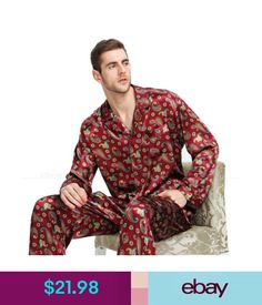 Sleepwear   Robes Mens Silk Satin Pajamas Pyjamas Set Sleepwear Xs4Xl Plus   ebay  Fashion b8b035e28