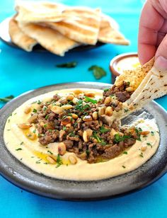 HUMMUS WITH LAMB -- Hummus topped with an aromatic lamb mince is a traditional dish from the Middle East. Whether as a starter or a small meal, this is a show stopper hummus. If you haven't tried this before, you're in for a real treat!