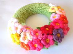Spring wreath door spring crochet colorful daisy by SpringFresh,