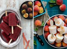 6 Boozy Cocktail Party Popsicles   • 1 Fig and Clementine Port Wine Poptail  • 2 Bourbon Peaches and Cream Popsicles  • 3 Bellini Pops  • 4 Boozy Beet and Apple Popsicles,   • 5 Tequila Rose Popsicles  • 6 Bloody Mary Ice Pops