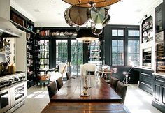 Color Outside the Lines: Kitchen Inspiration Month: Day 22 - Eat in Kitchens - love the use of space and colors.