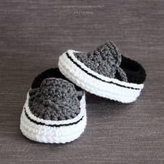 Crochet PATTERN. Vans style baby sneakers. Instant Download. #crochet #crochetpattern #ad