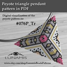 Peyote triangle patterns, pattern for triangle pendant, peyote pattern, bead pat. - New In Tops Peyote Stitch Patterns, Beaded Bracelet Patterns, Bead Loom Patterns, Beading Patterns, Peyote Bracelet, Peyote Triangle, Triangle Pattern, Crochet Necklace Tutorial, Seed Bead Projects