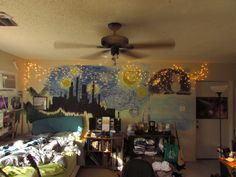 "acespaceprince: ""rosethegreekgeek: ""internetslayer: ""wellmetkinsman: ""I wonder what Vincent Van Gogh would think of my bedroom "" Bedroom goals "" acespaceprince have you seen this? Dream Rooms, Dream Bedroom, Night Bedroom, My New Room, My Room, Tumblr Rooms, Black Rooms, Room Goals, Aesthetic Room Decor"