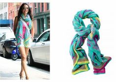 What a perfect Summer look Bethenny Frankel put together with our Turquoise Ikat Scarf