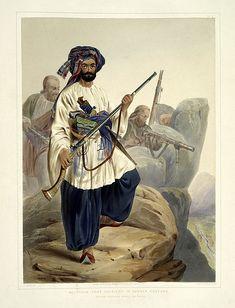 006- Soldados en vestimenta de verano entre las rocas-The costumes of the various tribes.. 1848-James Rattray