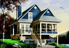 Discover the plan - The Cliffside 5 from the Drummond House Plans house collection. 3 bedrooms chalet lakefront cottage house plan with screened covered deck, kitchen island and fireplace. Total living area of 1484 sqft. Bungalow Homes, Bungalow House Plans, Craftsman House Plans, Craftsman Cottage, Modern Bungalow, Craftsman Style, Beach Cottage Style, Lake Cottage, Beach House