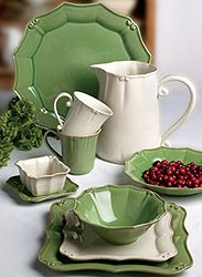 I would like these in white or off white :-) Casafina Vintage Port Green