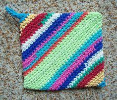 #Rainbow stripes, #Bohemian, Magic Crochet #PotHolder, Trivet, Hot Pad, Single by Bonbonsandmore