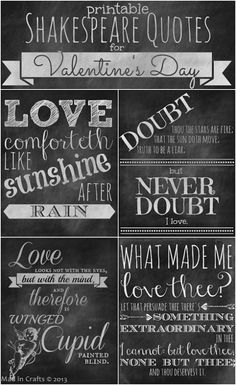 Printable Chalkboard Shakespeare Love Quotes - Mad in Crafts