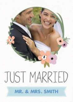 Flower Ribbon Just Married Photo Cards