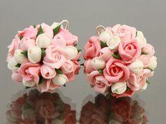 Polymer clay flower bead,polymer clay flower, flower beads,polymer clay flower jewelry