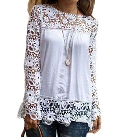 Vakind® Women Autumn Hollow Long Sleeve Lace Chiffon T-shirt Tops Casual Blouses (XL=US10)