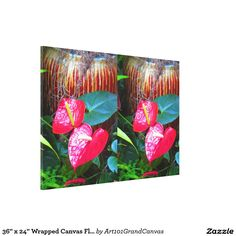 "36"" x 24"" Wrapped Canvas Flowers Floral USA"