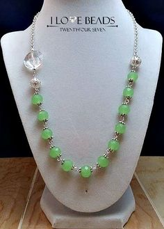 sale Mint green crystal necklace- green crystal necklace- silver necklace- beaded necklace- green necklaces- green  jewelry- wedding jewelry