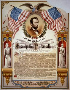 """Lincoln's Emancipation Proclamation was issued on January 1863 Credit: The Strobridge Lith.""""Abraham Lincoln and his Emancipation Proclamation."""" Prints and Photographs Division, Library of Congress. Us History, Black History, Family History, History Posters, Study History, History Education, History Class, History Channel, American Civil War"""