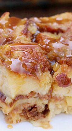 Salted Caramel Pina Colada Bread Pudding