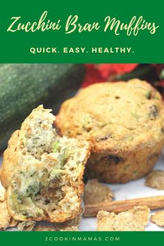 Easy to make Zucchini Bran Muffins are a deliciously healthy breakfast. Full of nutritious veggies, yogurt for calcium & bran cereal for fiber, they're an energy packed snack or a great grab-n-go breakfast. #healthymuffins #zucchinimuffins #zucchinimuffinsrecipe #branmuffins #breakfast #snack #easyrecipe #2CookinMamas Zucchini Muffins, Healthy Muffins, Healthy Snacks, Bran Cereal, Homemade Muffins, Grab And Go Breakfast, Bran Muffins, Healthy Zucchini, Food To Go