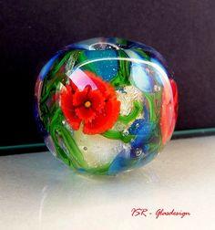 Flowerlove Glasperle lampwork bead ISR von ISRGlasdesign