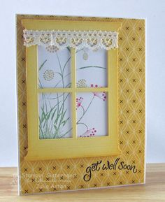 Get Well in the Garden by artystamper - Cards and Paper Crafts at Splitcoaststampers Making Greeting Cards, Greeting Cards Handmade, Cute Cards, Diy Cards, Craft Cards, Envelopes, Memory Box Cards, Window Cards, Window Frames