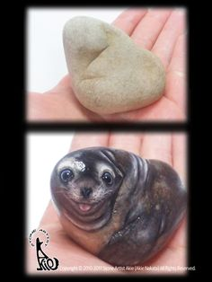"This sea lion is just palm size! and the material is natural shape stone. please see the ""before painted""."