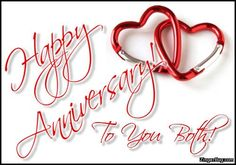Happy Anniversary To You Both Linked Hearts Glitter Graphic, Greeting, Comment, Meme or GIF