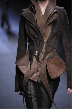 Multi-layered, upcycled jackets getting a little funky and quilted around the edges by Haider Ackermann...