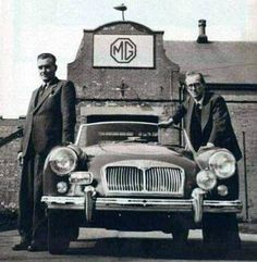 MGA and MGB designer Albert Sydney ('Syd') Enever (1906-1993), and MG General Manager 'Mr MG' John William Yates Thornley OBE (1909-1994), at the factory in Abingdon, Oxfordshire.