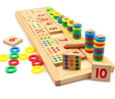 Rainbow Rings Dominos Children Preschool Teaching Aids Counting and Stacking Board Wooden Math Toy by Completestore ** Find out more about the great product at the image link.