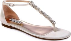 Badgley Mischka Holbrook T-Strap Sandal in White. Crystals and beads shimmer and shine along the T-strap of an elegant leather sandal.. #shoes#fashion#style#stylish#trendy