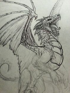 Here in Denver I help run a group called the Denver Illustration Salon and every Saturday we meet up at a local hot dog place and host a Drink n' Draw. That's where I sketched this guy up and start... - I like the roar of this dragon and how it is looking upward