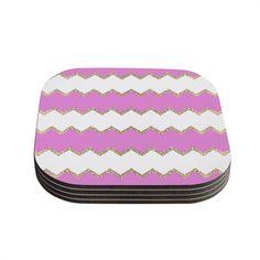 Kess InHouse Monika Strigel 'Avalon Pink Chevron' Rose White Coasters