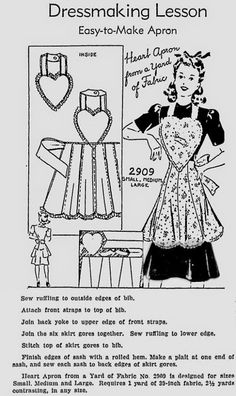 Easy-to-Make-Heart-Apron sewing pattern This could be sewn as a toddler valentin… Easy-to-Make-Heart-Apron sewing pattern This could be sewn as a toddler valentine dress, using the heart for the bodice And tie around the neck. Vintage Apron Pattern, Aprons Vintage, Vintage Sewing Patterns, Apron Patterns, Dress Patterns, Retro Apron, Shirt Patterns, Pattern Sewing, Vogue Patterns