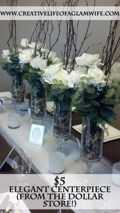 Dollar Store Centerpieces. I have made these before. Super easy! If we cant find the special jars maybe we could use this to put popcorn and pretzels in. I am thinking one on either side of the table to look symmetrical ;0)