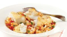 Pan-fried cod over cauliflower and tomatoes  A very healthy recipe.  I'm always looking for best ways to cook fish.