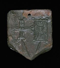 Part of a Scottish stone mould for casting pilgrim's badges; the impression on the right is a depiction of St Andrew. This was found in the old churchyard of St Andrew's, North Berwick, and has been dated to the century. Historical Artifacts, Ancient Artifacts, Ancient Jewelry, Old Jewelry, Scotland History, Stone Molds, Christian Images, Zinn, Vikings