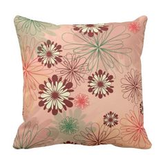 Lovely Peach background with Green and Red Floral