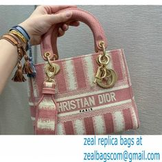 Lady Dior Medium D-Lite Bag in D-Stripes Embroidery Pink 2021