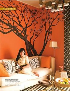 Tree mural on orange background...this is what it would look like in my bedroom with the orange wall.