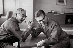 Iconic image of Sony founders Akio Morita and Masaru Ibuka