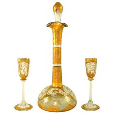 Antique-Moser-Bohemian-Raised-Enamel-Gilt-Glass-Liquor-Service-Decanter-Cordials
