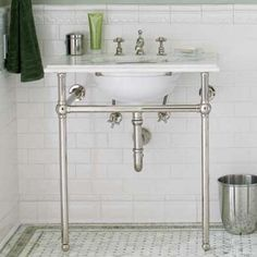 pedestal sink + tile