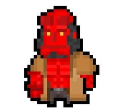 """Hellboy, demonic wielder of the Right Hand of Doom and cat-loving member of the """"Bureau of Paranormal Research and Defense"""" from Mike Mignola's iconic """"Hellboy"""" comic series, now derezzed to a wonderfully small 23 x 31 pixel size!  Requested by: http://askewglasses.tumblr.com/"""