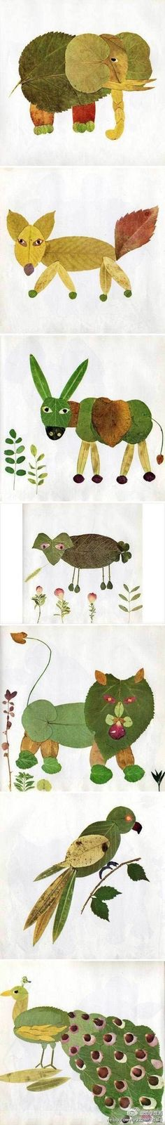 Fall art project - making animal pictures out of leaves. Cannot wait to try this!