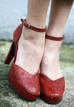 Red 70s #Snakeskin #Platform #Heels #Shoes UK 7 (EU 40) #seventies #asosmarketplace